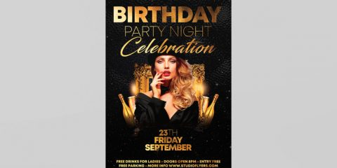 Birthday Night Event Free Flyer Template