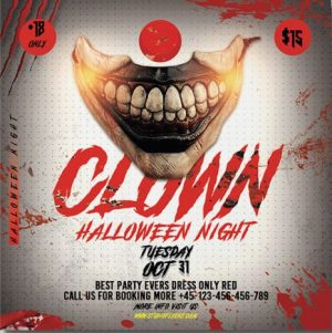 Clown Night Free PSD Flyer Template