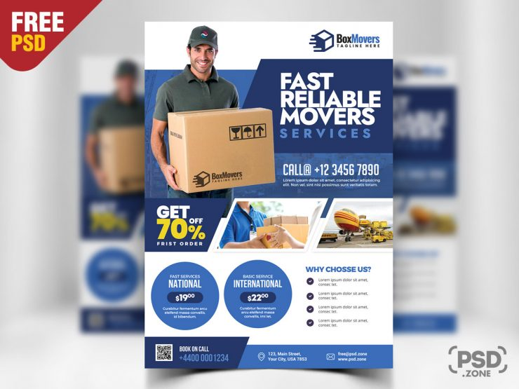 Courier Service Free PSD Flyer Template