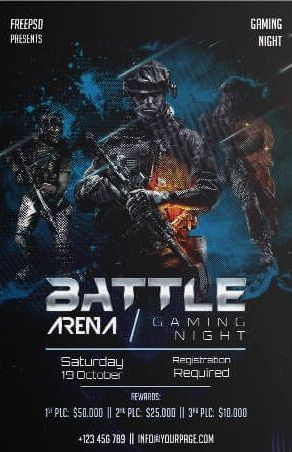 Free Arena Gaming 2019 PSD Flyer Template