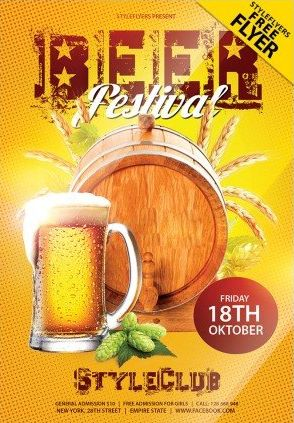 Free Beer Festival PSD Flyer