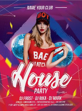 Free DJ House Party PSD Flyer Template