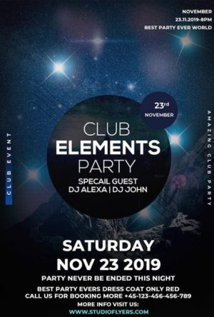 Free Element Club PSD Flyer Template