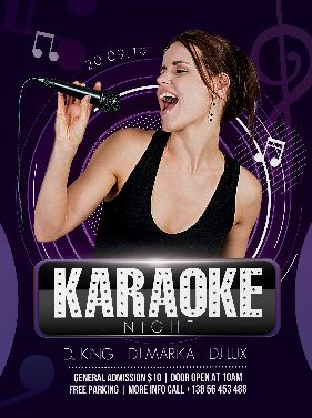 Download Karaoke Night Party PSD Flyer Template for Free. This flyer is editable and suitable for any type of ladies night, birthday event, dj, music promotion and other.