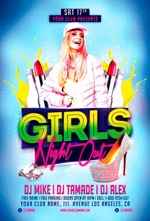 Free Party Girls Flyer Template
