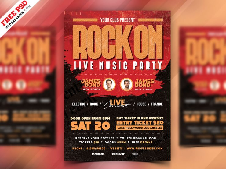Free Rock Music Party Template