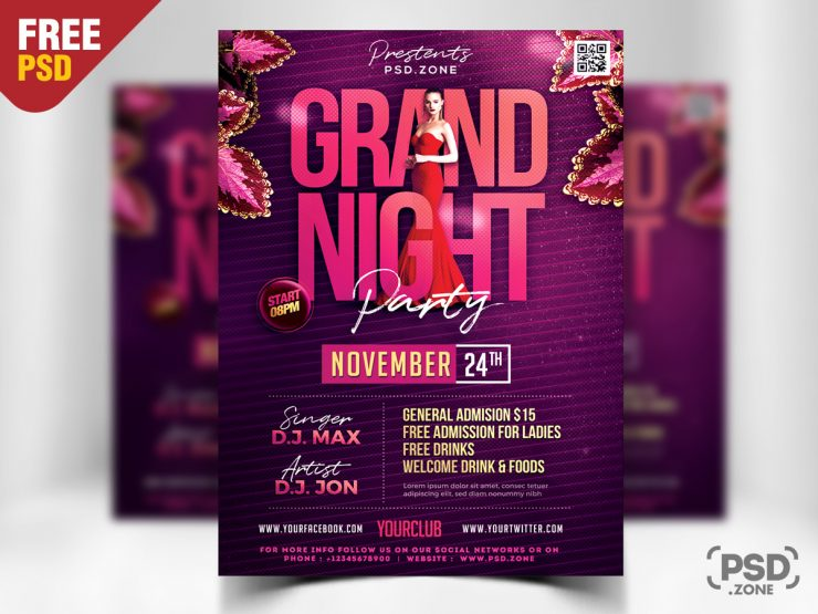 Grand Night Event Free PSD Flyer Template