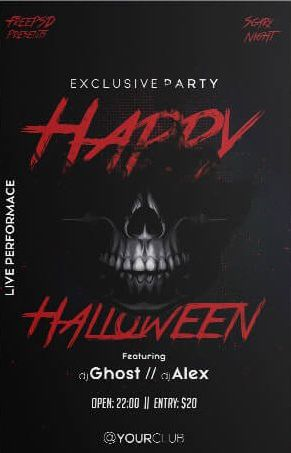 Scary Halloween Party Free PSD Flyer