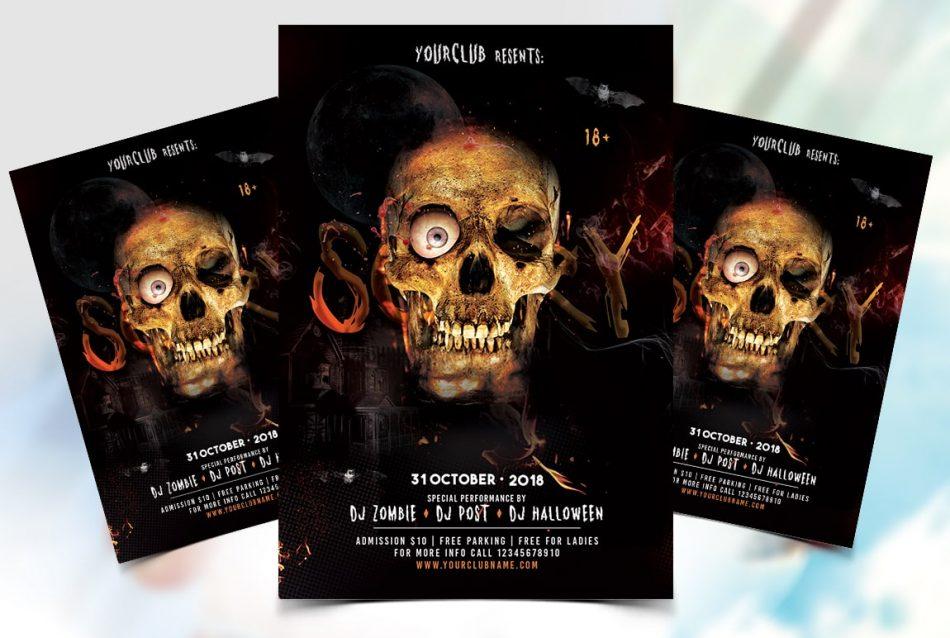 Skull Halloween Free PSD Flyer Template