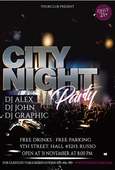 City Night Event Free PSD Flyer Template