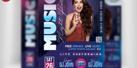 Free Club Night Party Flyer PSD