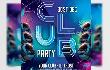 Free Club Party PSD Flyer Template