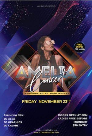 Free Concert Night PSD Flyer Template