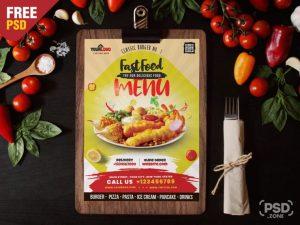 Free Food Menu Design Template PSD Flyer