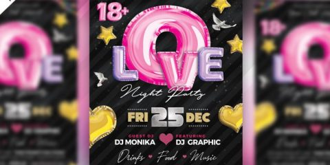 Free Love Night Party Flyer Template