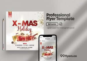 Free Christmas Party DJ PSD Flyer Template