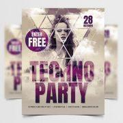 Free DJ Techno PSD Flyer Template