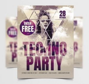 Free DJ Techno PSD Flyer Template