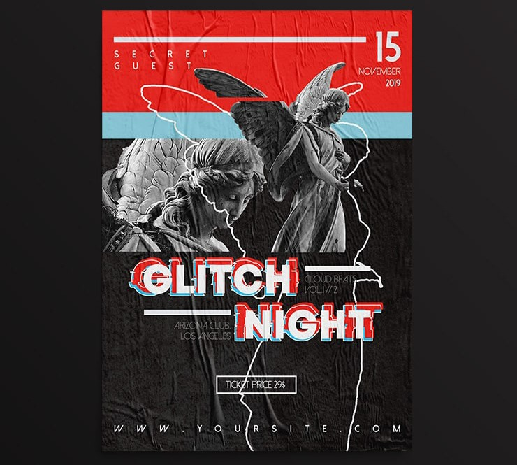 Glitch Night PSD Free Flyer Template