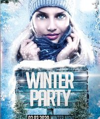 Winter Party PSD Flyer Template for Free