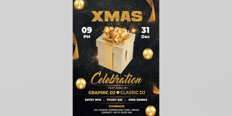X-Mas Celebration Free PSD Flyer Template