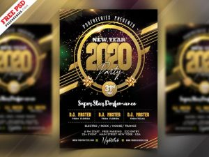 2020 New Year Party Free Flyer PSD Template