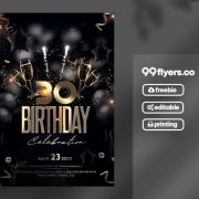 Birthday Bash Gold & Black Free PSD Flyer