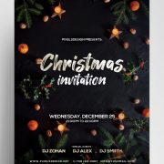 Clean Christmas Invitation Freebie PSD Template