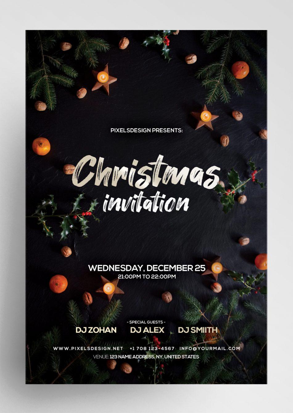Clean Christmas Invitation Freebie PSD Template