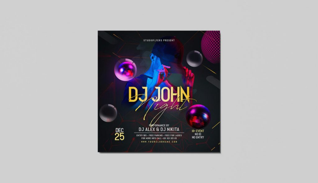 DJ John Night PSD Flyer for Free
