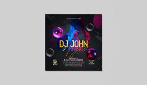 DJ John Night PSD Flyer for Free