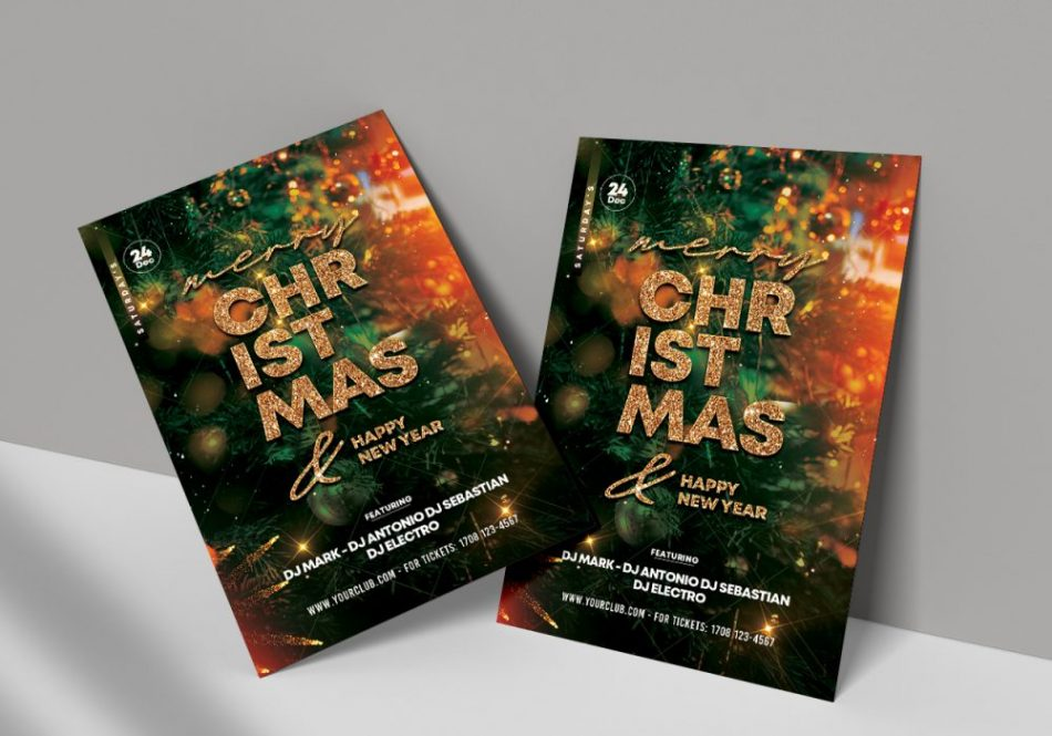 Download Magic Christmas Flyer Free PSD Template. Flyer is editable and suitable for any Xmas event, Merry Christmas Invitation and other Winter Events or party.