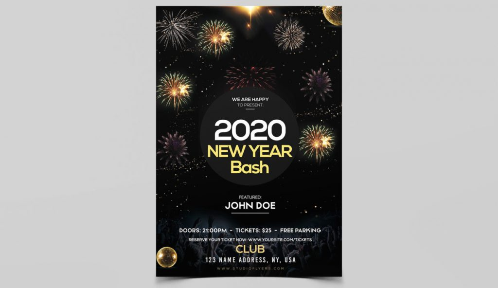 Free New Year Bash PSD Flyer Template