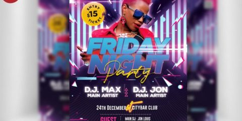 Friday Party Flyer PSD for Free