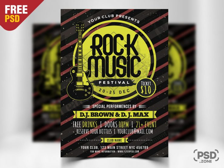 Rock Music Free PSD Template