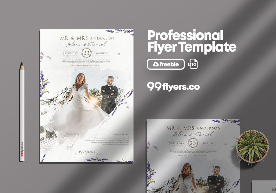 Wedding Agency Flyer PSD For Free