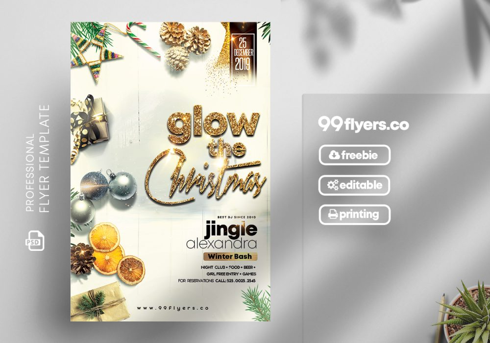 White Christmas Party Free PSD Flyer/Invitation Template