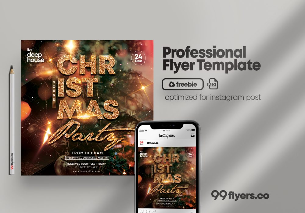 X-Mas Sound Free PSD Square Flyer Template
