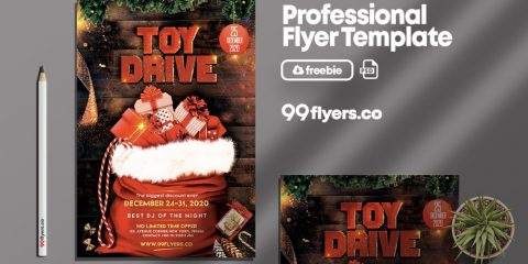 X-Mas Toy Drive Free PSD Flyer Template