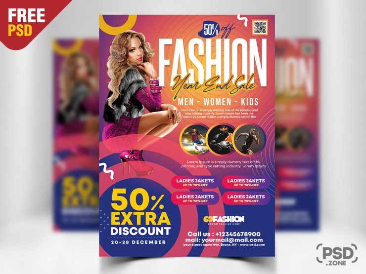 Year End Sale Free PSD Flyer Template