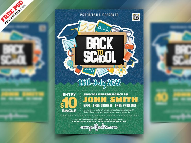 Back to School Event PSD Free Flyer Template