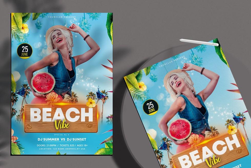 Beach Time Free PSD Flyer Template