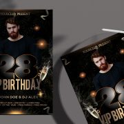 Birthday ~ Black and Gold PSD Free Flyer