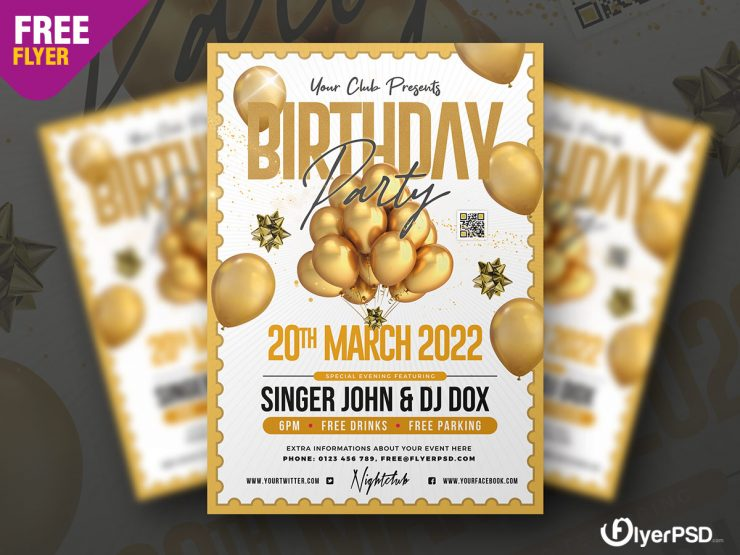 Birthday Party - Elegant Free PSD Flyer Template