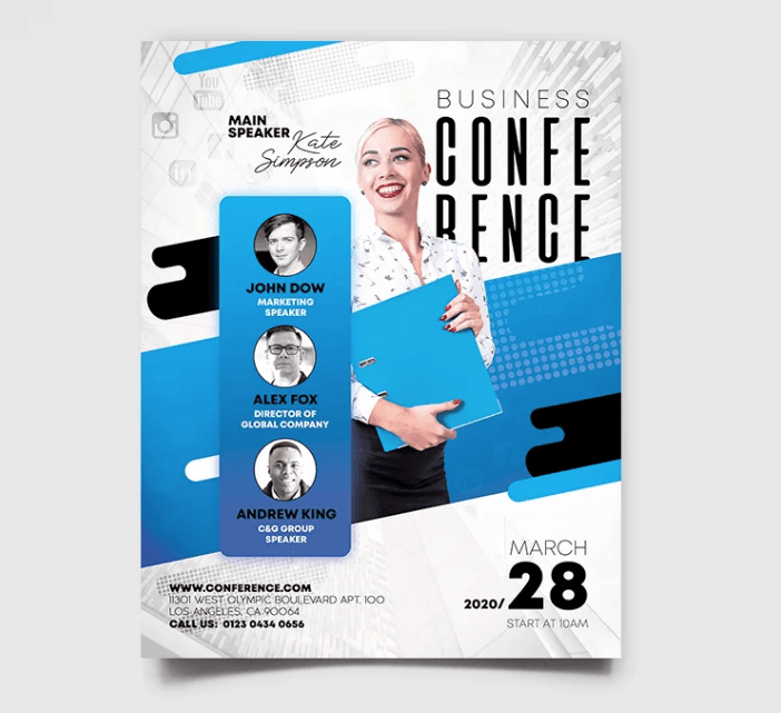 Business Conference PSD Freebie Flyer Template