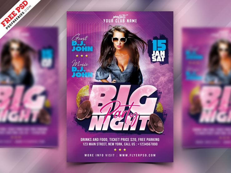 DJ Party Night PSD Free Flyer Template