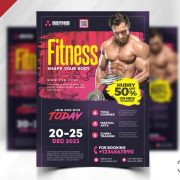 Free Gym and Fitness PSD Flyer