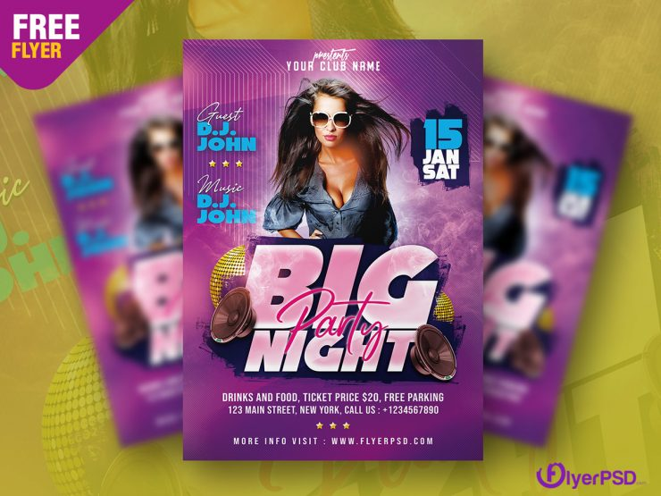 Free Night Party Flyer in PSD