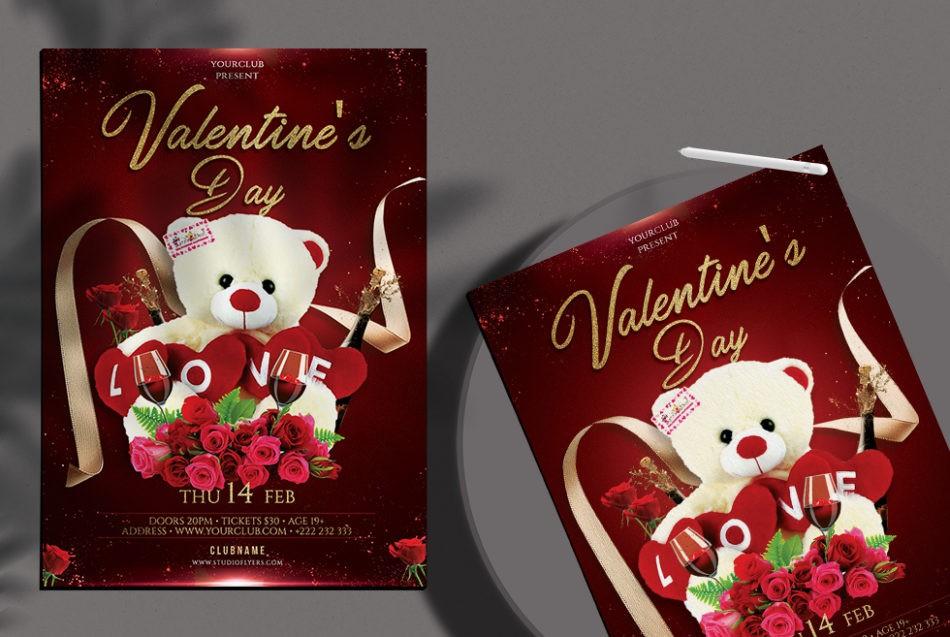 Happy Valentine's - Free Elegant PSD Flyer Template