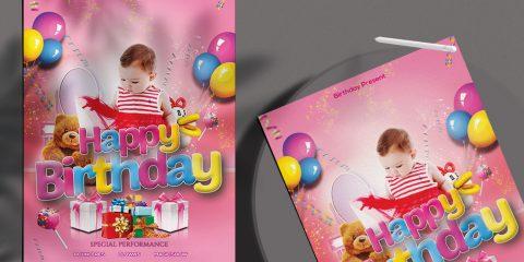 Kid's Birthday Free PSD Flyer Template